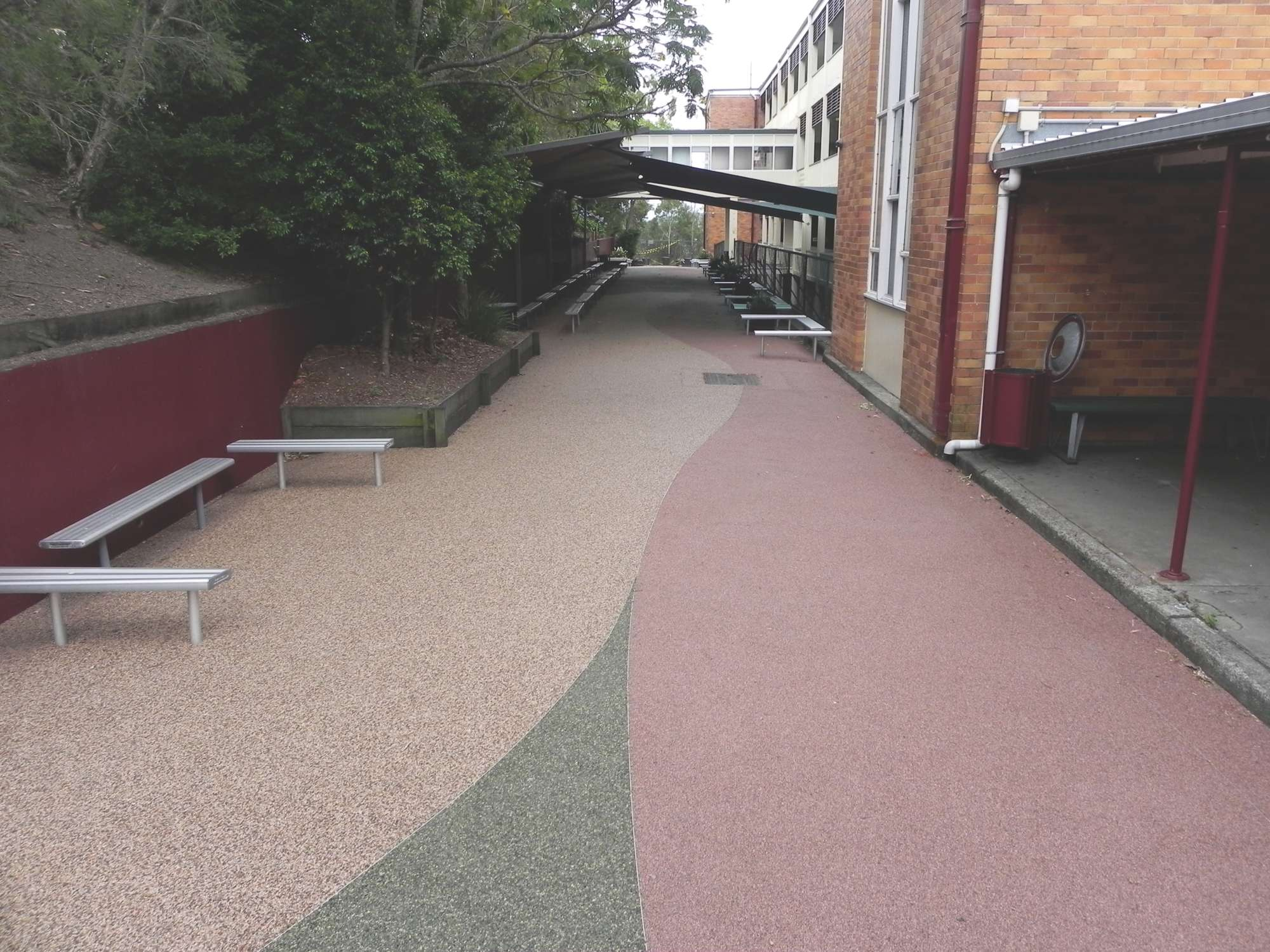 Overlay paving with patterns and design into the surface